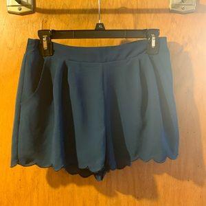 blue scallop trim shorts